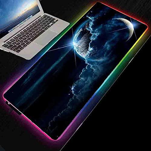 Cojín de ratón grande STARRY SKY MOON RGB GAMING MOUSE PAD LED LED Luminoso Color Iluminación Inalámbrico Cargando Mouse Pad Esquema-300x800x4mm_Luna