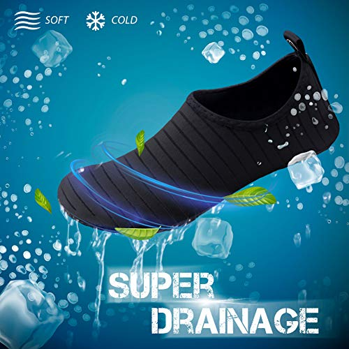 SIMARI Anti Slip Water Shoes for Women Men Summer Outdoor Beach Swim Surf Pool SWS001 Stripe Black 8.5-9.5