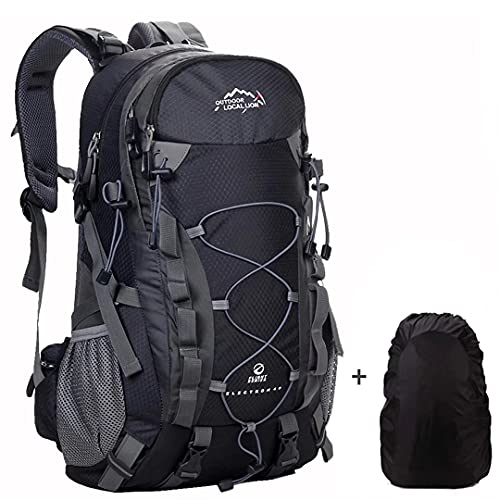 Meisohua Mochila de Senderismo 40L Unisex Mochila Al Aire Libre Viaje Marcha del Deporte Escalada Trekking Camping con Cubierta Lluvia Negro