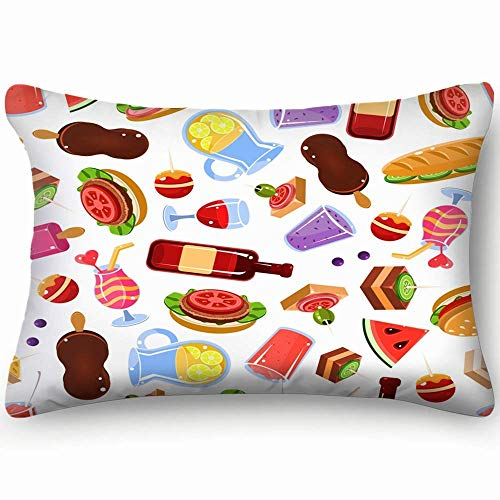 NA Seamless Pattern Hot Dogs Sausages Bread Backgrounds Textures Americanfood and Drink Decorative Pillow Case Home Decor Pillowcase Gifts Colourful (20x30 Inches)