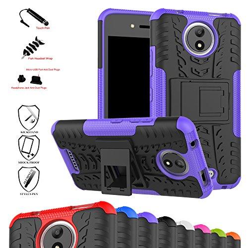 MAMA MOUTH Moto C Hülle, [Heavy Duty] Rugged Armor stoßfest Handy Schutzhülle Silikon Tasche Ständer Hülle Hülle mit Standfunktion für Motorola Moto C Smartphone,Lila