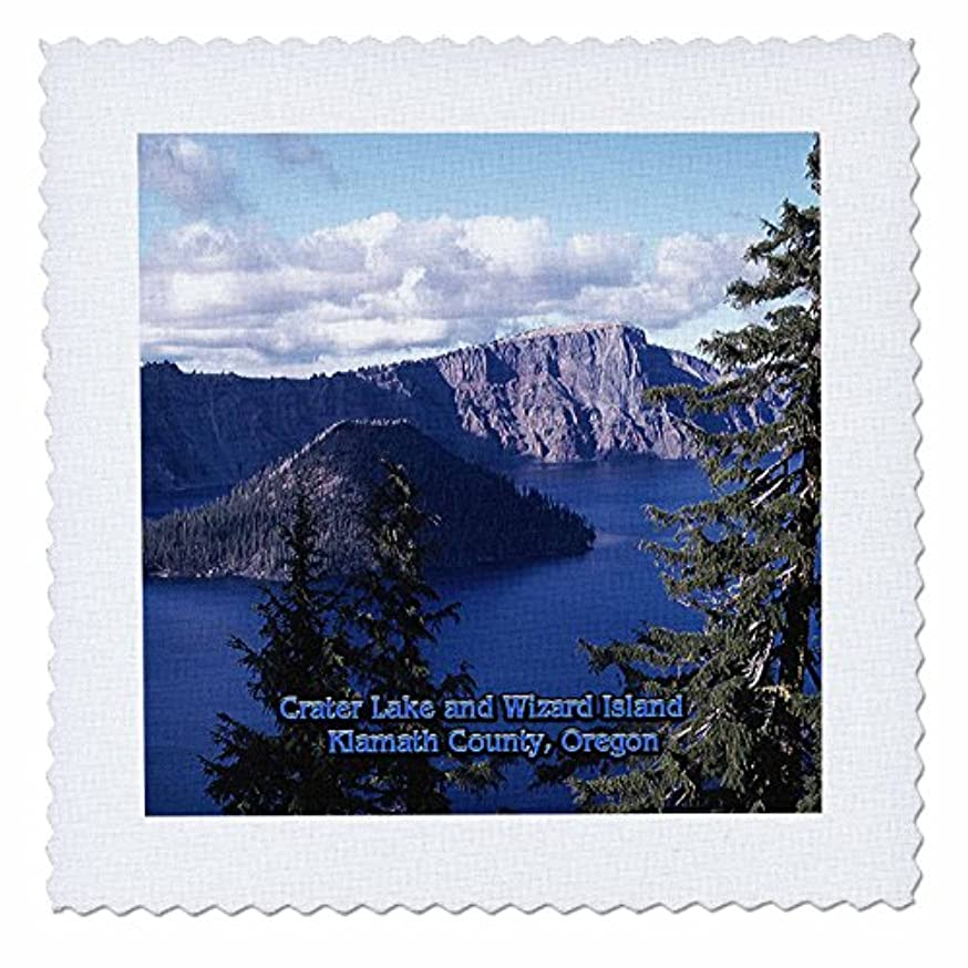 3dRose qs_55305_4 Crater Lake and Wizard Island in Summer, Klamath County, Oregon Quilt Square, 12 by 12-Inch