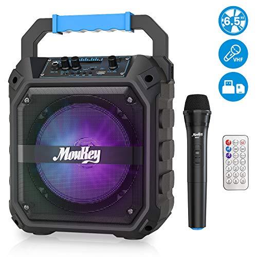 pas cher un bon Haut-parleur portable rechargeable Moukey de 6,5 pouces avec microphone sans fil, radio FM, éclairage LED et plus encore.