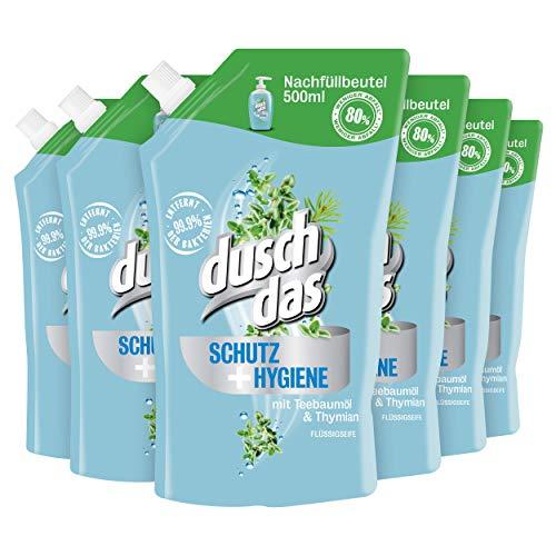 Duschdas Flüssigseife Schutz + Hygiene Nachfüllbeutel, 6er pack (6 x 500 ml)