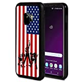 Galaxy J2 Pro Case,Silhouettes of Ice Hockey Players USA Flag Pattern Anti-Scratch Shock Proof Black TPU and PC Protection Case Cover for Samsung Galaxy J2 Pro (2018)