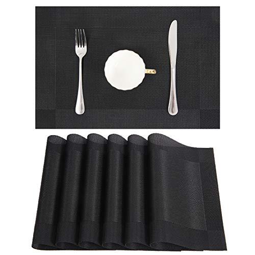 U'Artlines Conjunto de 6 Manteles Individuales de Vinilo Antideslizante Resistente al Calor para la Mesa de Comedor de Cocina