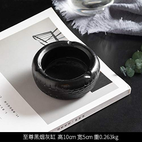 Aschenbecher aschenbecher für Living room home ashtray ceramic simple and modern anti-fly ash with lid-Resin Supreme Black Ashtray