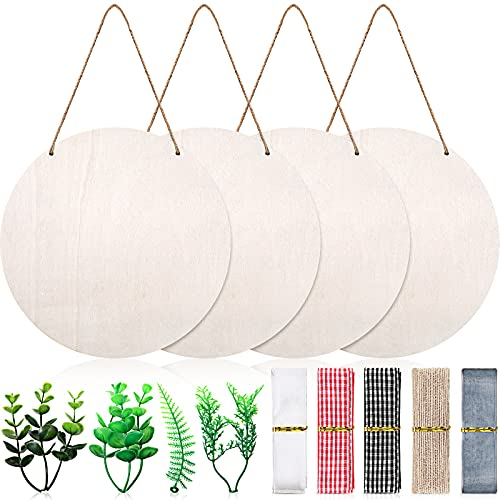 4 Pieces Wooden Circle Sign Unfinished Round Welcome Wood Hanging Sign Blank Wood Front Door Cutout Slice with Twine, Ribbons, Artificial Leaves for DIY Crafts Decor (Wood Color)