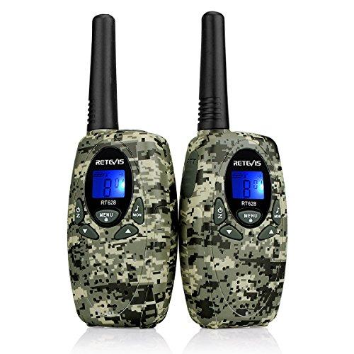 Retevis RT628 Walkie Talkie Niños PMR446 8 Canales 10 Tonos de llamada VOX Bloqueo de Teclado Volumen Ajustable Walkie Talkie Camuflaje Regalo Juguete para Niños (Camuflaje,1 par)