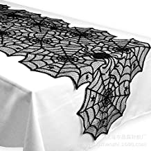 Axgo 18 x 72 Polyester Lace Table Runner, Black Spider Web-Perfect for Halloween, Dinner Parties and Scary Movie Nights