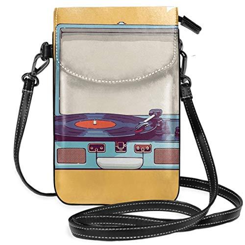 keben Bolsa para teléfono Reproductor de discos de vinilo azul Bolsas cruzadas pequeñas y ligeras Cartera para teléfono celular Monedero para mujeres y niñas con práctico transporte