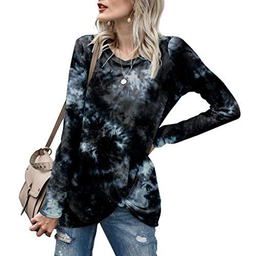 Tie Dye T-Shirt Femme Manches Longues Col V Top Élégant Vert S