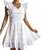 GRACEVINES Womens Elegant Embroidery V Neck Cap Sleeves Summer Ruffle A-Line Mini Short Dress White