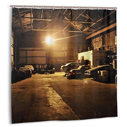 N/A Cortina de ducha con ganchos, resistente al moho, antibacteriana, 12 ganchos 183 x 183 cm (coches Ford Mustang Subaru Impreza Workspace Garage)