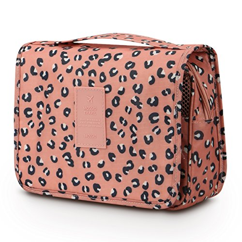 Mossio Hanging Toiletry Bag - Large Cosmetic Makeup Travel Organizer for Men & Women with Sturdy Hook (Pink Leopard)