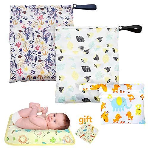 3 Stück Baby Wickeltasche Beutel für Stoffwindeln & 1 Stück Baby Wickelauflage,Waschbar Baby Reisen Windeltasche Wasserdicht,Wetbag für Stoffwindeln,Naßtasche für Baby Windel,Reisen,Sporttasche