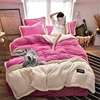 Thickened Lamb Velvet 4-Piece Duvet Cover Set, Magic Fleece Splice, Ultra Soft Hypoallergenic with 1 Duvet Cover, 1 Bed Sheet and 2 Pillowcase (Pink,200x230cm+245x250cm)