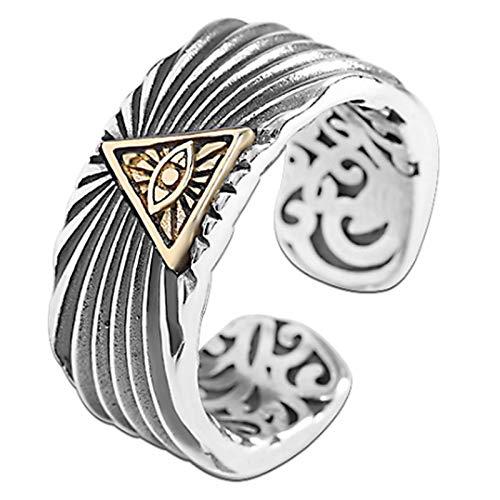 CHXISHOP Anillos de los hombres, 925 de la joyería de plata anillo abierto del ojo de Dios anillo retro de los hombres de la mano de la