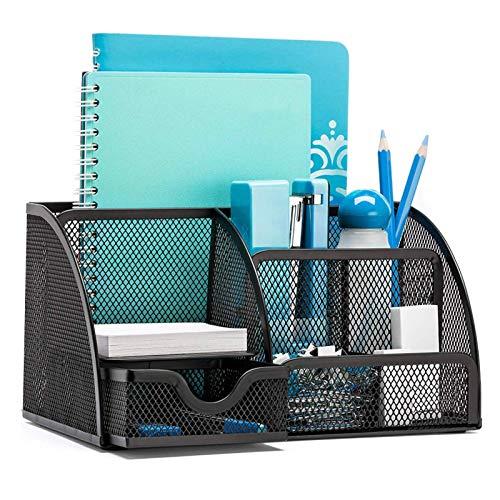 Okpow Schreibtisch-Organizer aus Netzstoff, Stifthalter, 6 Komponenten, Bürobedarf, Stiftehalter, Heimbüro, Ablagefach
