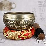 Cuenco Tibetano para Meditación Curación Cuenco Tibetano Cuenco Tibetano Conjunto antiguo diseño con doble superficie Mallet algodón Cojín de latón Alivio meditación regalo para Yoga, Decir Oraciones,