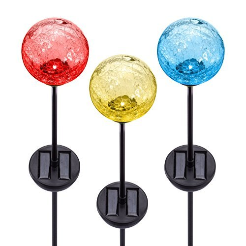 Solar Gazing Ball LED Lights on Tall Stakes -Outdoor Landscape Pathway Light for Patio and Lawn Lighting Decor, Hand Made with Crackled Stained Glass