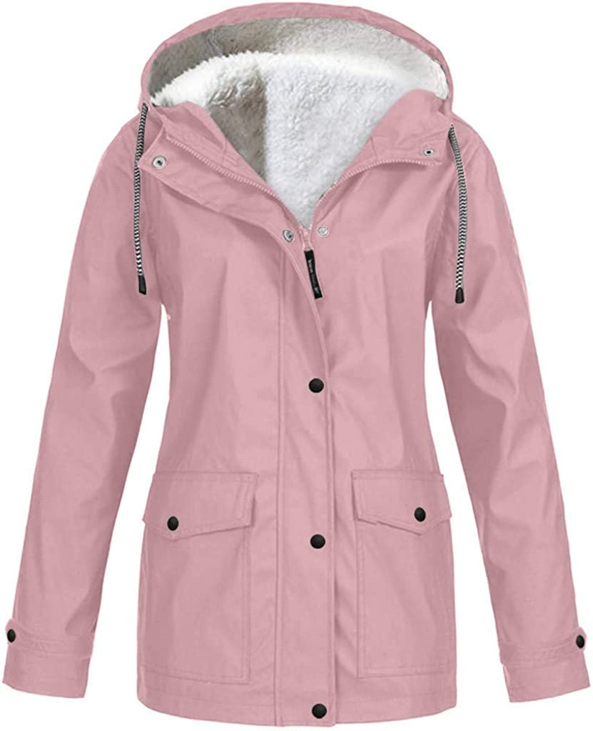 UOFOCO Rain Coats for Women Plus Size Solid Plush Thickening Out