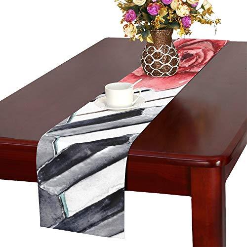 Rote Rose auf Klavier Blume Tischläufer, Küche Esstisch Läufer 16 X 72 Zoll für Dinnerpartys, Veranstaltungen, Dekor
