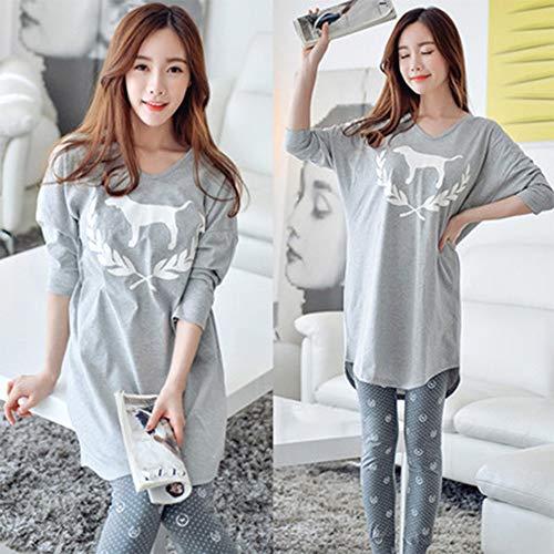 YTNGA Pyjamas America Style Cotton Sleepwear Pyjamas Ärmelset GrüneSpitzeschlafanzüge, P85 Grau, M