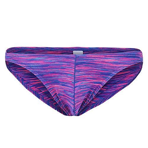 LABIUO Männerunterwäsche, Sexy Fashion Breathable weich gestreifter Bikini-Badeanzug Unterwäsche Unterhose Leichter Komfort Bulge Pouch Thong G-Strings Thong Lingerie Briefs(F,Groß)