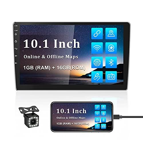 Autoradio 2 Din Android GPS CAMECHO 10 Pollici Autoradio Touch Screen Bluetooth WIFI Ricevitore FM Collegamento a specchio per cellulare Dual USB + Telecamera posteriore