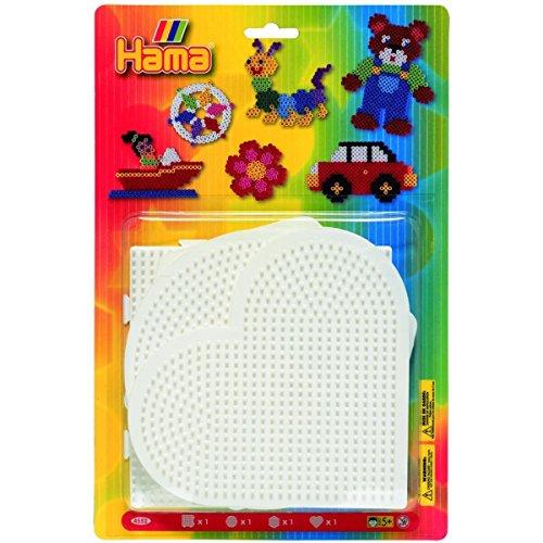 Hama 4552 - Blisterpackung große Stiftplatten, Rund, Herz, Viereck, Sechseck, 4 Stück
