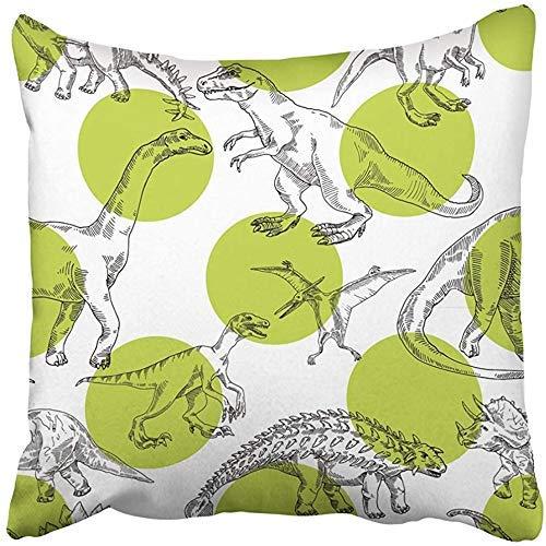 Doble Cojines Fundas 18' Verde Animal Toon Dinosaurios Dibujos Fiesta Niños Blanco Bebé Funda de Almohada Suave para la Piel