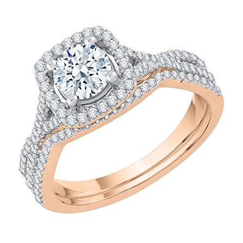 Katarina Diamond Halo - Juego de novia en oro rosa de 14 quilates (1 quilate, J-K, SI2-I1) (tamaño 10)