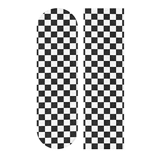 LMFshop 33.1x9.1inch Sport Outdoor Longboard Aufkleber Schwarz Weiß Plaid Gingham Checkered Print Wasserdicht Farbige Skateboard Grip Tape Für Tanzbrett Double Rocker Board Deck 1 Blatt