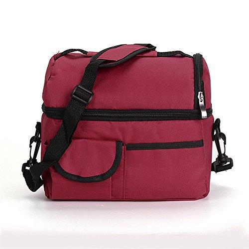 Aliciashouse Commode Rouge foncé de Pique-Nique déjeuner Sac Refroidisseur Sac Ice Bag Lunch Box Assortis Couleurs Disponibles