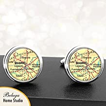 Map Cufflinks Madrid Spain Map Cufflinks Handmade Cuff Links Antique Maps