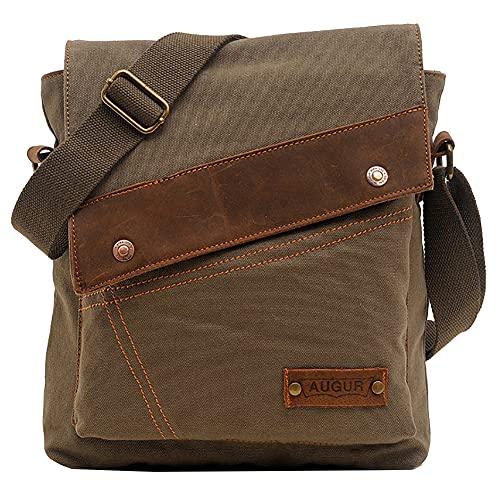 Yimidear Herren Canvas Freizeit Retro Umhängetasche Schultertasche Handtasche Tasche Schultasche Messenger Bag (Green)