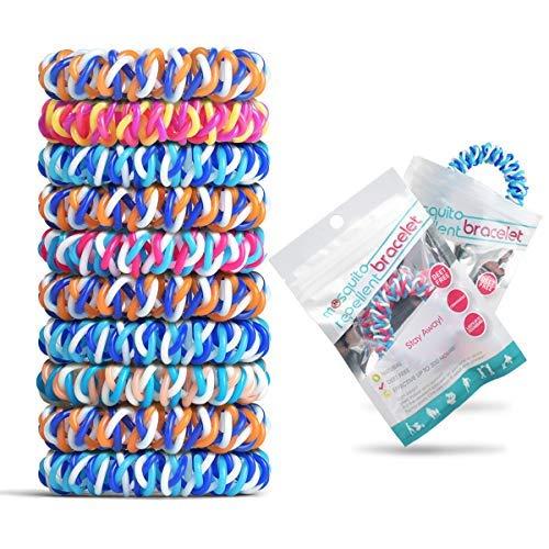 10 pulseras resellables envueltas individualmente, pulseras impermeables para niños y adultos, citronela natural libre de deetes..
