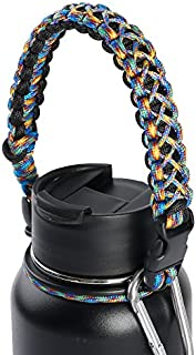 QeeLink Paracord Handle Compatible with Hydro Flask Wide Mouth Water Bottles - Paracord Carrier Strap Cord with Safety Ring & Carabiner & Compass & Fire Starter, 12oz - 64oz