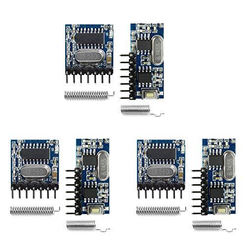 QIACHIP sans Fil 433Mhz RF Module Émetteur Et Récepteur 4 Canaux avec 1527 Code d'apprentissage pour télécommande (3 Ensembles)