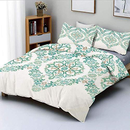 Juego de funda nórdica, forma de guirnalda gótica simétrica retro de mediana edad en estampado en colores pastel Juego de ropa de cama decorativo de 3 piezas con 2 fundas de almohada, verde azul, el m