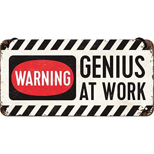 Nostalgic-Art Retro Hängeschild Achtung – Genius at Work – Geschenk-Idee für Gamer, aus Metall, Vintage-Design zur Dekoration, 10 x 20 cm