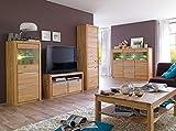 expendio Wohnzimmer Pisa 51 Eiche Bianco massiv 5-teilig Wohnwand Highboard Couchtisch Wohnmöbel