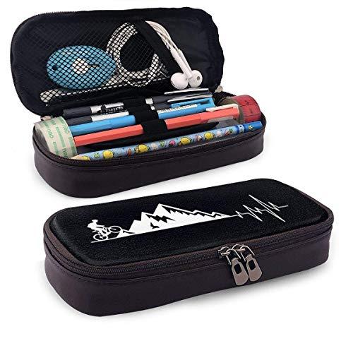 Lawenp Alta capacidad Mountain Bike Heartbeat for MTB Bikers Leather Pencil Case for School Students Office Pen Pencils Box