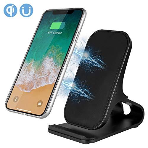 Drahtloses Ladegerät, Fast Wireless Ladegerät Pad Stand für Samsung Galaxy Note 8 S8 S8 Plus S7 Edge S7 S6 Edge Plus Note 5, Standard-Lade für iPhone X 8 8 Plus (ohne Netzteil) (Schwarz)