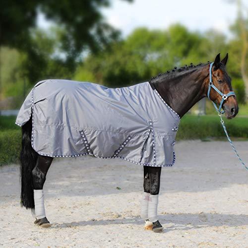 York Regendecke Pferdedecke 600D Weidedecke Outdoordecke 50g, 100g, 200g Rain Star Turnoutdecke (135 cm, grau 50g)