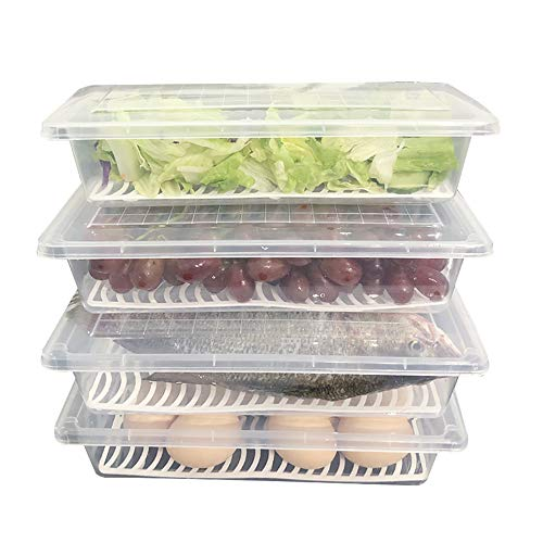 Food Storage Container, Fridge Organizer Case with Removable Drain Plate Stackable Freezer Storage Containers Keep Fresh for Storing Fish, Meat, Vegetables (Pack of 4)