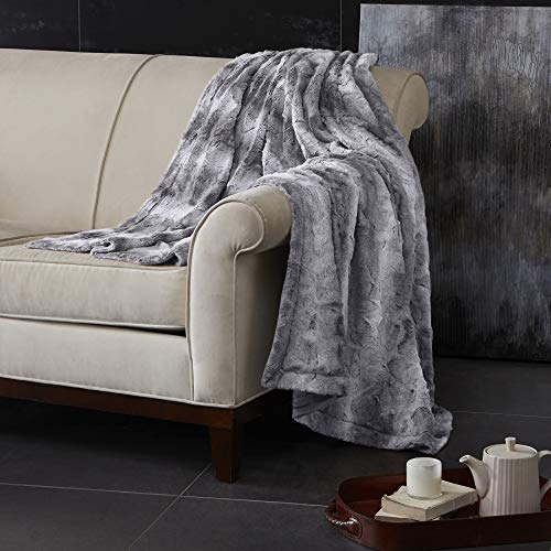 Madison Park Zuri Luxury Faux Fur Oversized Throw Premium Soft Cozy Brushed For Bed, Coach or Sofa, 60x70, Grey