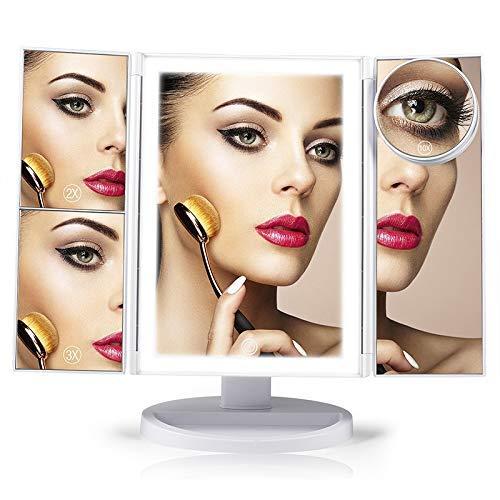 KANJJ-YU Encimera del Espejo cosmético, Maquillaje Espejo de baño con iluminación LED y Pantalla táctil Tri-Fold 1X 2X 3X Aumento de 10x de la batería y USB Powered Espejo