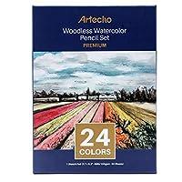 Artecho 鉛筆 木を使わない水彩鉛筆セット 24色 5.7x8.2インチ 50枚 空白スケッチブック アート描画鉛筆 ブレンド/レイヤリング/クリスマス/子供/大人向け塗り絵ブックに最適